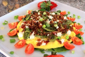 Fiddlehead (or Asparagus), Caramelized Shallots & Goat Cheese Frittata Dana Moos recipe & photo