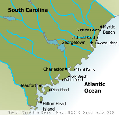 south carolina beaches map