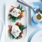 poached eggs on sweet potoato hash browns